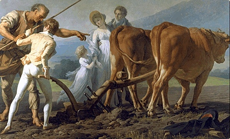Folktales on being helped by animals, as fronted by François-André Vincent (1746-1816). The Ploughing Lesson