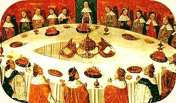 Holy Grail, King Arthur and braves around the Round Table