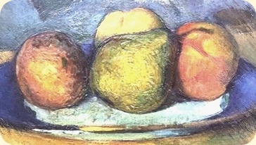 Vital matters fronted by a detail from a stilleben by Paul Cézanne