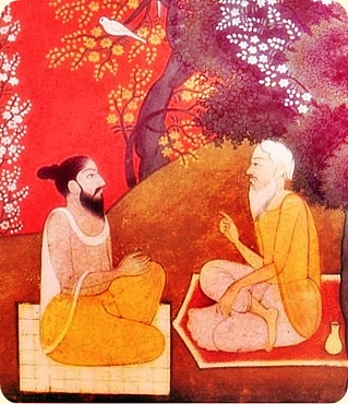 Sages in a Landscape. A late medieval Pahari miniature, in a private collection Much modified. Based on the book cover of Juan Mascaro's translation of Upanisads and Upanishad parts, Viking Press, 1965)