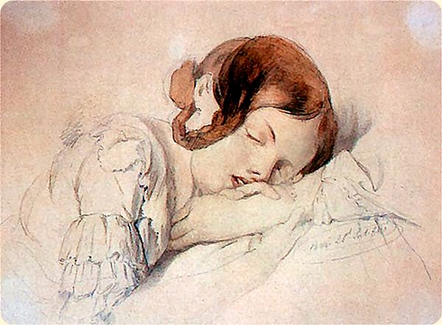 Henryk Rodakowski (1823-1894). Sleepy young girl. Watercolour paper. 1841