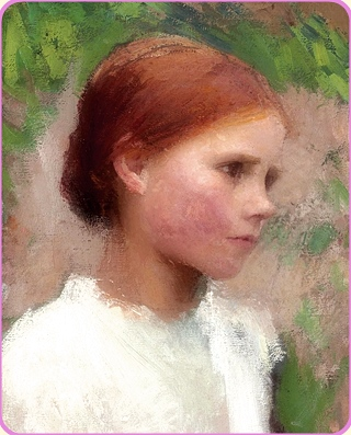 MADAME D'AULNOU fairy tales and George Clausen - Young Rural Girl, modified and mirrored selection.