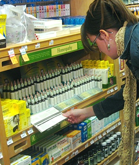 Homeopathic remedies on shelves