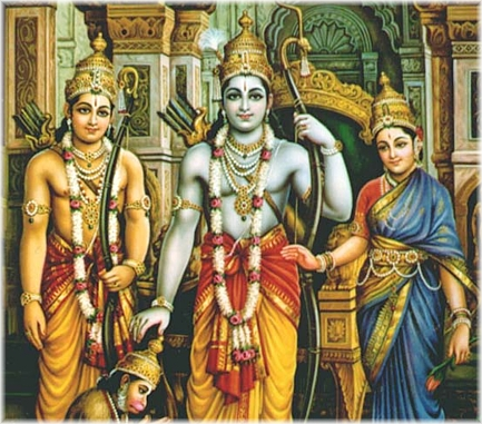Vishnu-incarnation Rama (centre) and his wife Sita (right)