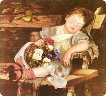 A posture fit for positive thinking - Modified section of Sweet Dreams by Marianne Stokes. 1875