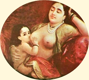 Raja Ravi Varma. Lady feeding her child. Modified section.