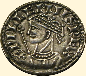Silver coin of William the Conqueror (William I of England). Coin is property of the British Museum.