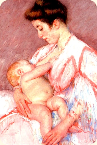 Mary Cassatt. Baby John Being Nursed, 1910. Modifisert utsnitt.