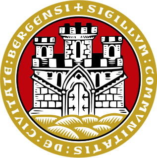 Coat of arms for the municipality of Bergen (kommune), Norway, Bergens kommunevåpen. Frå Wikipedia Commons.