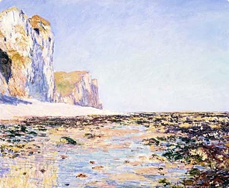 Normandy scene. Claude Monet. Seashore and Cliffs of Pourville in the Morning. 1882
