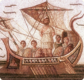 Ulysses on his ship. Romanesque mosaic