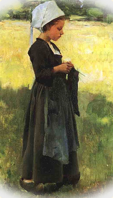 Willard Leroy Metcalf. Breton Girl. 1884 - Suggestive imagery suited to W. Y. Evans-Wentz. The Fairy-Faith in Celtic Countries.