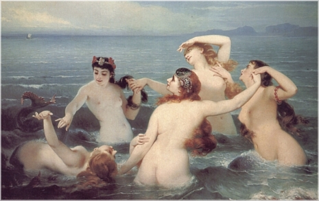 Charles Edward Boutibonne (1816-1897). Mermaids Frolicking in the Sea (or Sirens), 1883