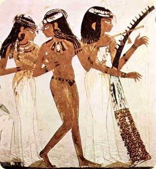 The three musicians, Tomb of Nakht, Thebes. Wall painting. Section. c. 1422-1411 BCE. Harpist to the right