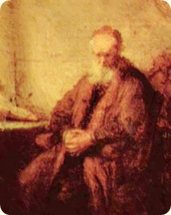 Rembrandt: Philosopher in meditation, 1632. Modified section
