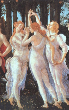 TAO-TE CHING, DAO DE JING, JAMES LEGGE - and Botticelli. Primavera, c. 1482. The detail of the Three Graces from the cleaned state of the painting here intimates Taos.