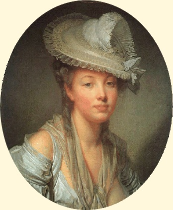 MADAME D'AULNOU fairy tales and Jean-Baptiste Greuze. Young Woman in a White Hat. Ca. 1780.