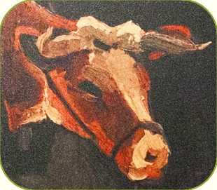 Vincent van Gogh. Modified detail from Ox cart with Red and White Ox