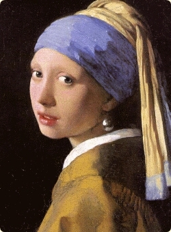 Vermeer. Girl wearing earring. Detail