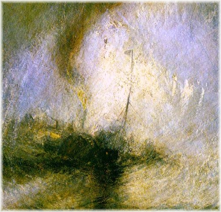JOSEPH M. W. TURNER: SNOW STORM - STEAM BOAT OFF A HARBOUR'S MOUTH MAKING SIGNALS IN SHALLOW WATERS, AND GOING BY THE LEAD. 1842. DETAIL