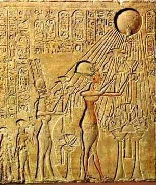 Akhenaten and his family and the sun