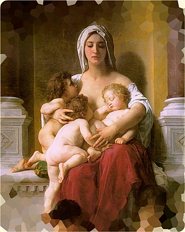William-Adolphe Bouguereau. Charity. Section. Modified - mat frontast.