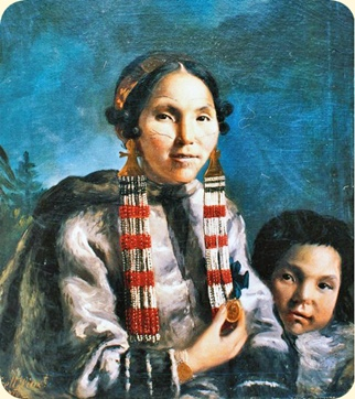 Inuit Mikak and her son Tukauk. Painting by John Russell,1769. Modified section
