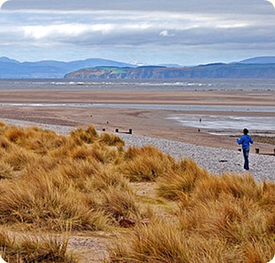 Richard Murray. Beach at Findhorn Looking across the Moray Firth to the Sutors of Cromarty, the headlands on either side of the entrance to the Cromarty Firth. Modified section