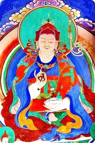 Guru Rimpoche, Padma-Sambhava- Wall painting at Wangdue Phodrang dzong. Colours are made clearer and brighter.