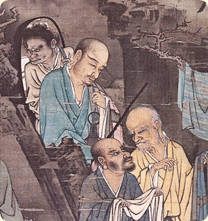 Lin Tinggui. Luohan Laundering. 1178 CE. Section. From the Song Dynasty; ink and colour on a silk hanging scroll, 111.8 cm high and 53.1 cm wide. In the complete painting, five Chinese Buddhist <u>luohan</u> (arhats) and one attendant are washing clothes in a stream and hanging them up to dry